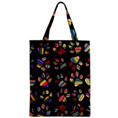 Colorful Paw Prints Pattern Background Reinvigorated Zipper Classic Tote Bag