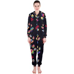 Colorful Paw Prints Pattern Background Reinvigorated Hooded Jumpsuit (ladies)