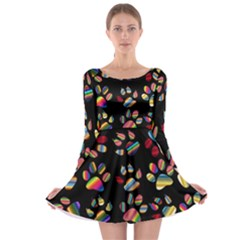 Colorful Paw Prints Pattern Background Reinvigorated Long Sleeve Skater Dress