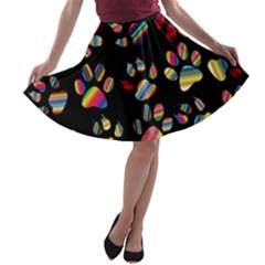 Colorful Paw Prints Pattern Background Reinvigorated A Line Skater Skirt
