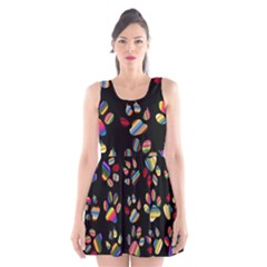 Colorful Paw Prints Pattern Background Reinvigorated Scoop Neck Skater Dress