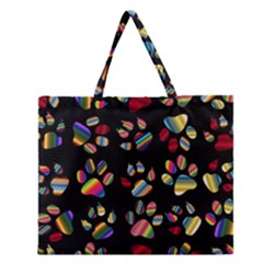 Colorful Paw Prints Pattern Background Reinvigorated Zipper Large Tote Bag