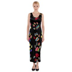 Colorful Paw Prints Pattern Background Reinvigorated Fitted Maxi Dress