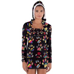 Colorful Paw Prints Pattern Background Reinvigorated Women s Long Sleeve Hooded T-shirt