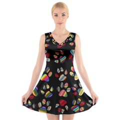 Colorful Paw Prints Pattern Background Reinvigorated V Neck Sleeveless Skater Dress