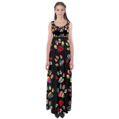 Colorful Paw Prints Pattern Background Reinvigorated Empire Waist Maxi Dress