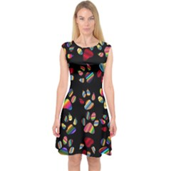Colorful Paw Prints Pattern Background Reinvigorated Capsleeve Midi Dress