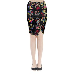 Colorful Paw Prints Pattern Background Reinvigorated Midi Wrap Pencil Skirt