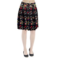 Colorful Paw Prints Pattern Background Reinvigorated Pleated Skirt