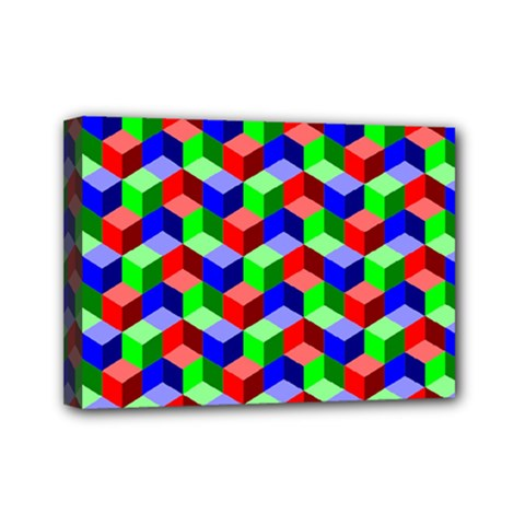 Seamless Rgb Isometric Cubes Pattern Mini Canvas 7  X 5