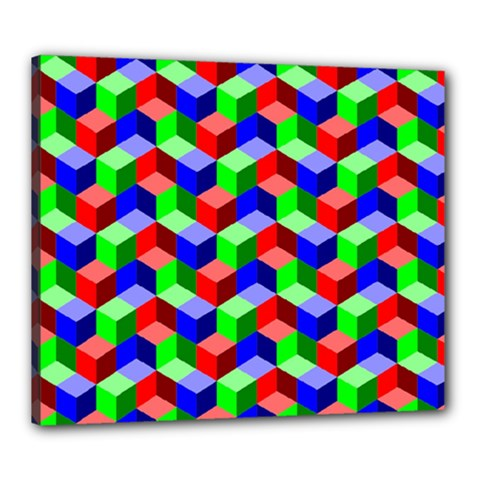 Seamless Rgb Isometric Cubes Pattern Canvas 24  X 20