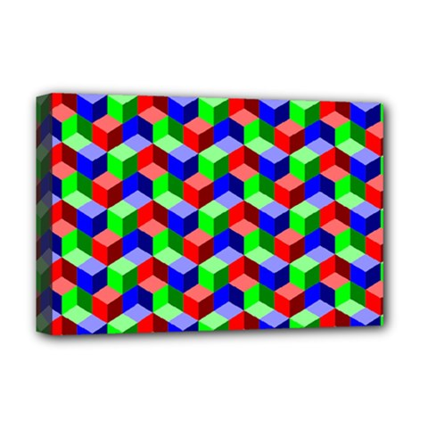 Seamless Rgb Isometric Cubes Pattern Deluxe Canvas 18  X 12