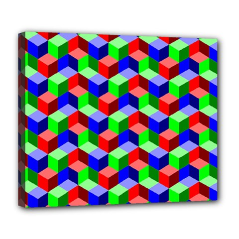Seamless Rgb Isometric Cubes Pattern Deluxe Canvas 24  X 20