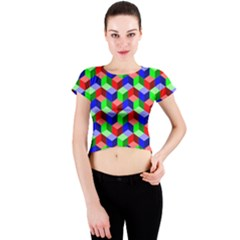 Seamless Rgb Isometric Cubes Pattern Crew Neck Crop Top