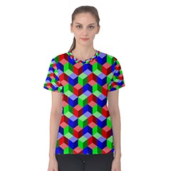 Seamless Rgb Isometric Cubes Pattern Women s Cotton Tee
