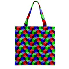 Seamless Rgb Isometric Cubes Pattern Grocery Tote Bag