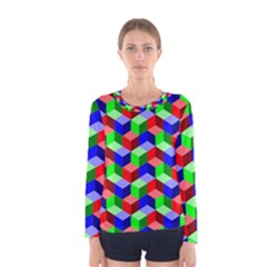 Seamless Rgb Isometric Cubes Pattern Women s Long Sleeve Tee