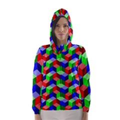 Seamless Rgb Isometric Cubes Pattern Hooded Wind Breaker (Women)