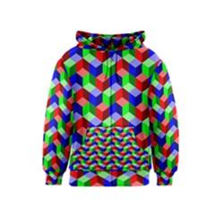 Seamless Rgb Isometric Cubes Pattern Kids  Zipper Hoodie