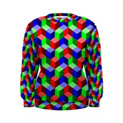 Seamless Rgb Isometric Cubes Pattern Women s Sweatshirt