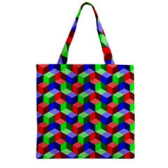 Seamless Rgb Isometric Cubes Pattern Zipper Grocery Tote Bag