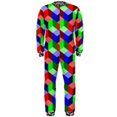Seamless Rgb Isometric Cubes Pattern OnePiece Jumpsuit (Men)