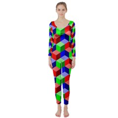 Seamless Rgb Isometric Cubes Pattern Long Sleeve Catsuit