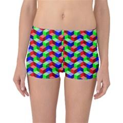 Seamless Rgb Isometric Cubes Pattern Boyleg Bikini Bottoms