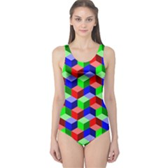 Seamless Rgb Isometric Cubes Pattern One Piece Swimsuit
