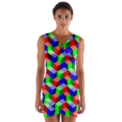 Seamless Rgb Isometric Cubes Pattern Wrap Front Bodycon Dress