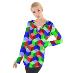Seamless Rgb Isometric Cubes Pattern Women s Tie Up Tee