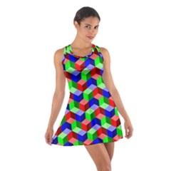 Seamless Rgb Isometric Cubes Pattern Cotton Racerback Dress