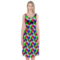 Seamless Rgb Isometric Cubes Pattern Midi Sleeveless Dress