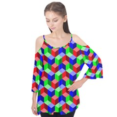 Seamless Rgb Isometric Cubes Pattern Flutter Tees