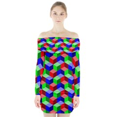 Seamless Rgb Isometric Cubes Pattern Long Sleeve Off Shoulder Dress