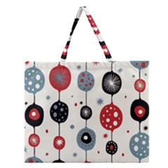 Retro Ornament Pattern Zipper Large Tote Bag