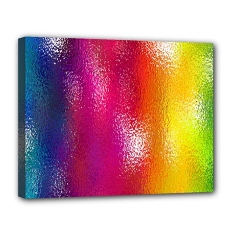 Color Glass Rainbow Green Yellow Gold Pink Purple Red Blue Canvas 14  x 11
