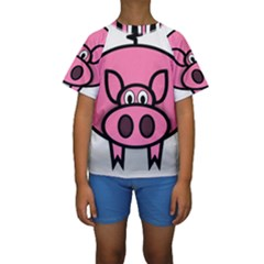 Pork Pig Pink Animals Kids  Short Sleeve Swimwear