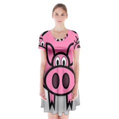 Pork Pig Pink Animals Short Sleeve V-neck Flare Dress