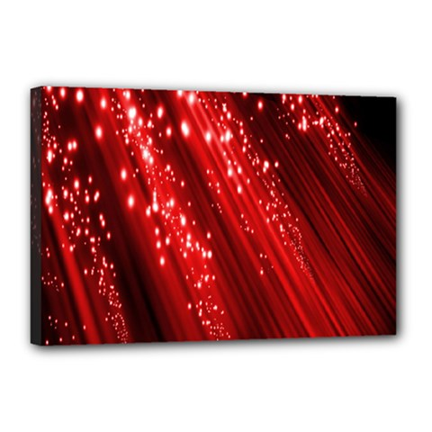 Red Space Line Light Black Polka Canvas 18  x 12