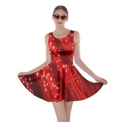 Red Space Line Light Black Polka Skater Dress
