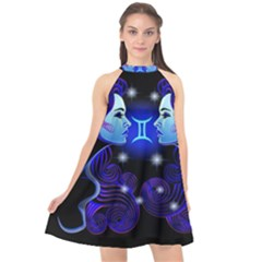Sign Gemini Zodiac Halter Neckline Chiffon Dress