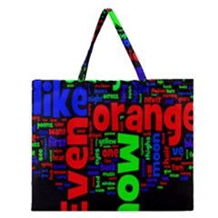 Writing Color Rainbow Zipper Large Tote Bag