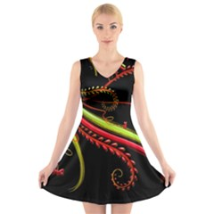 Cool Pattern Designs V Neck Sleeveless Skater Dress