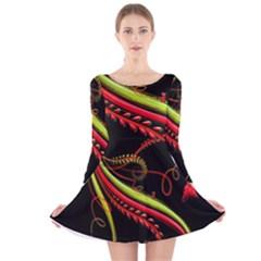 Cool Pattern Designs Long Sleeve Velvet Skater Dress