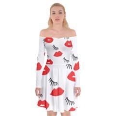 Smooch Pattern Design Off Shoulder Skater Dress