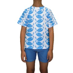 Fish Pattern Background Kids  Short Sleeve Swimwear
