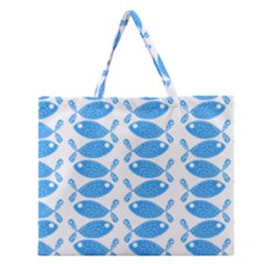 Fish Pattern Background Zipper Large Tote Bag