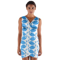 Fish Pattern Background Wrap Front Bodycon Dress