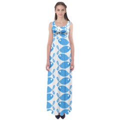 Fish Pattern Background Empire Waist Maxi Dress